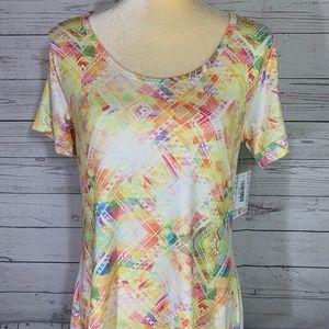 LuLaRoe Classic T Yellow with Pastel Design Shirt